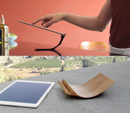 Curved Wooden iPad Stand Offers Three Different Viewing Angles