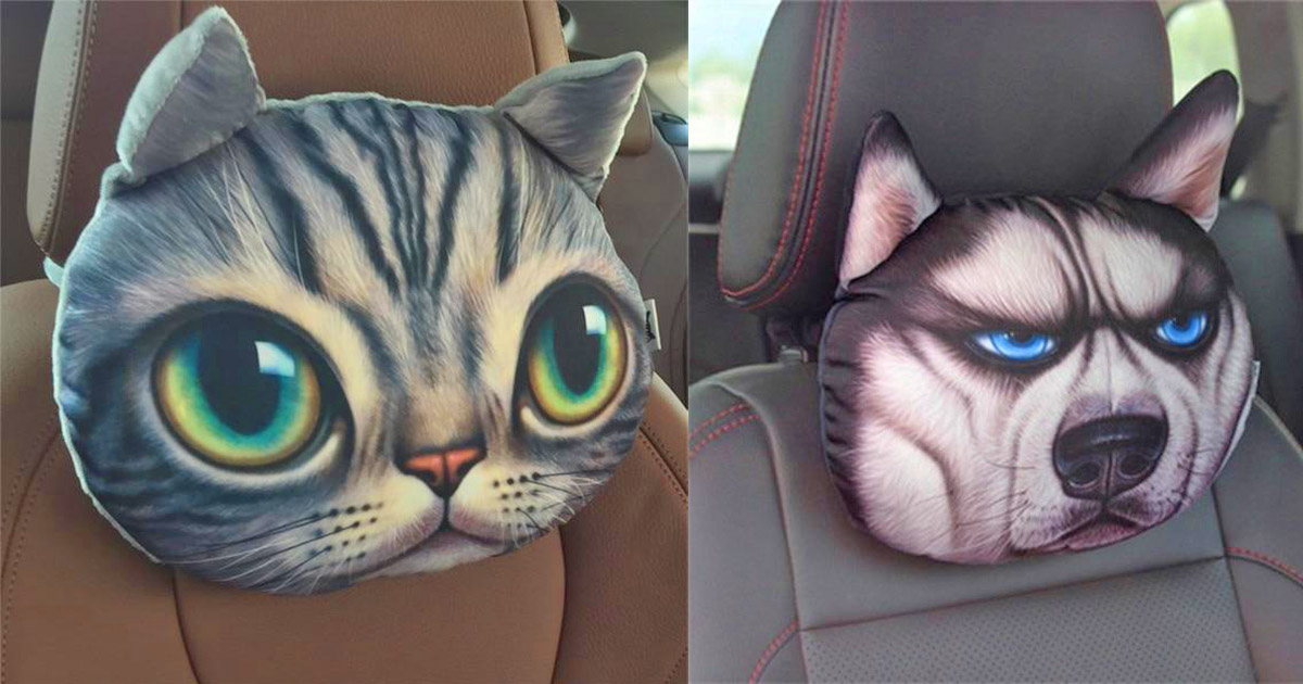 Cute Cat and Dog Head Car Seat Pillows
