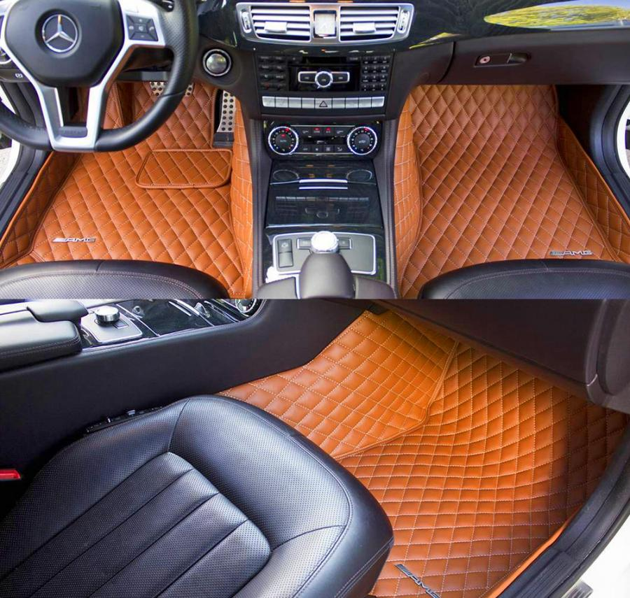Diamond-Stitched Luxury Leather Custom Car Mats