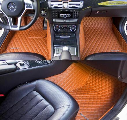 Diamond-Stitched Luxury Leather Custom Car Mats
