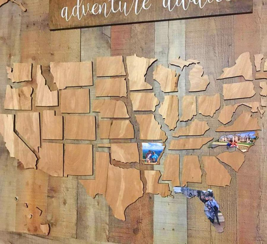 Document Your Travels With This Wooden U.S. State Photo Markings Map