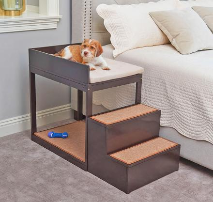 Dog Bedside Bunk - An Elevated Dog Bed With Stairs