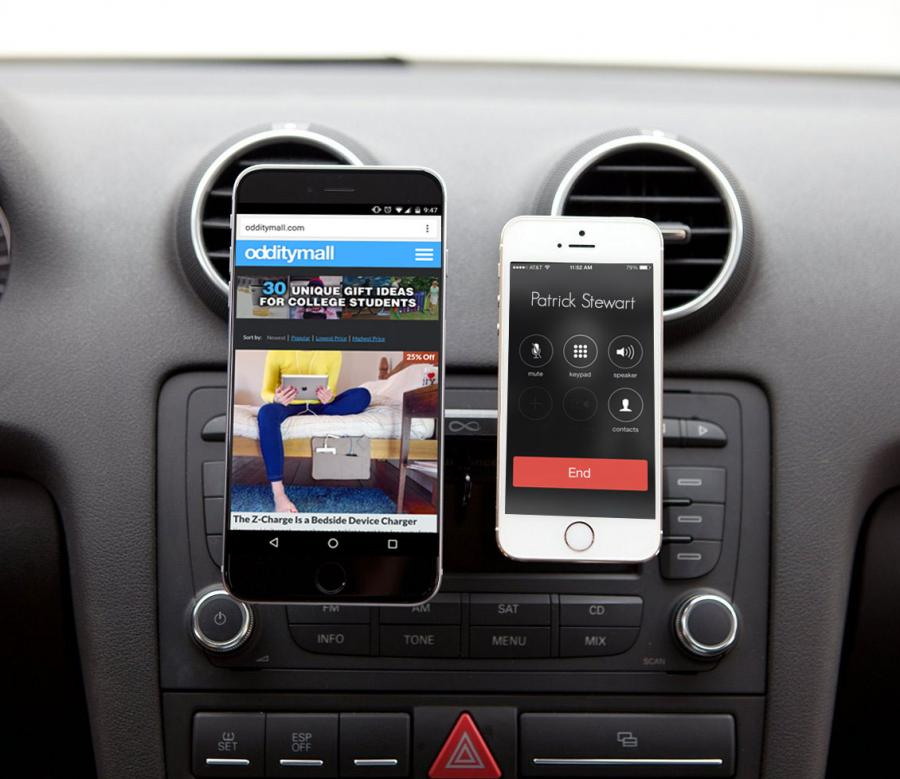 iphone car mount duomount lets you mount two phones using your cars cd slot 1627