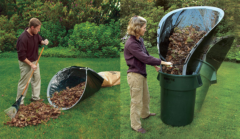 An efficient way to bag leaves is to put some plastic sheeting on the lawn and rake the piles of leaves onto it. Then use the plastic like a funnel to pour the leaves into a garbage or lawn bag. You can also use a leaf scoop, which is a lightweight plastic scoop that lets .