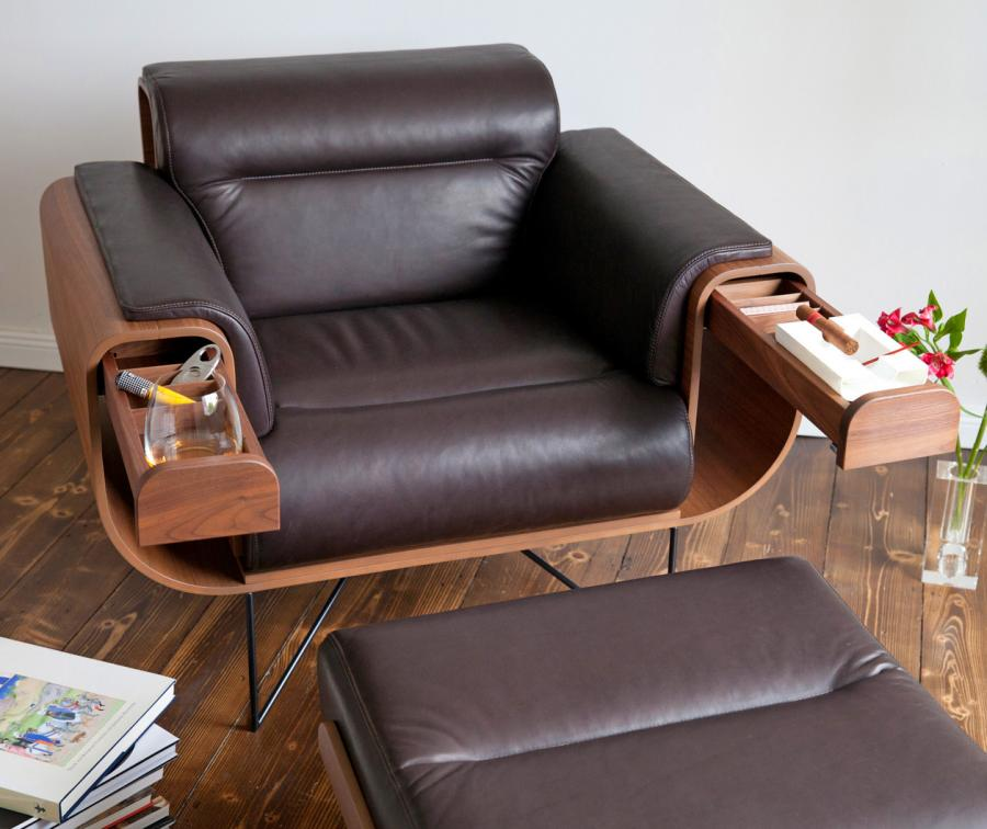 Leather Chair Ottoman Set