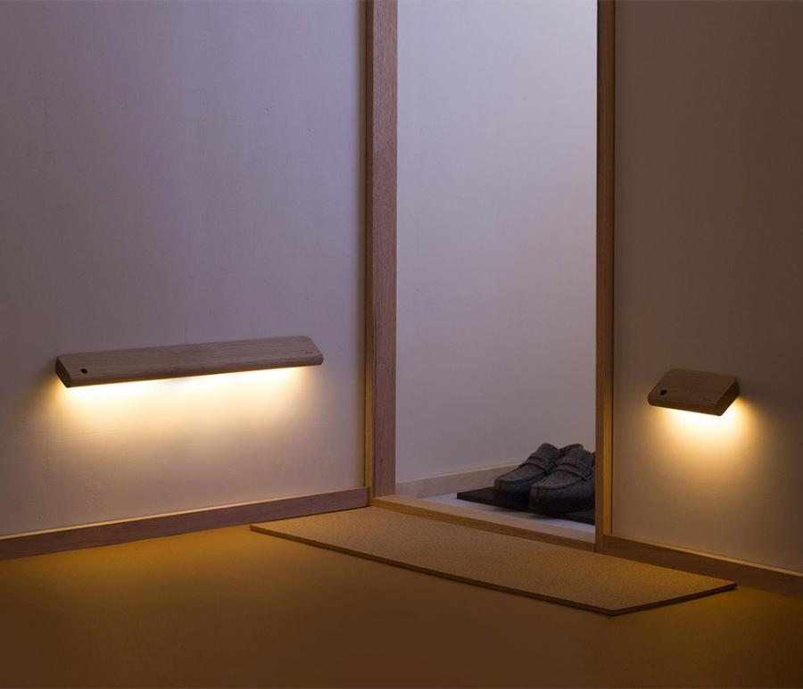 Wall Lights Made From Wood : Ellum: Wooden Motion Activated Wall Lights