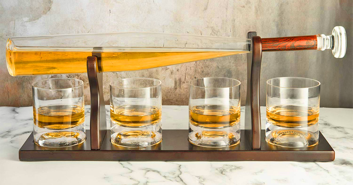 Every Baseball Fanatic Probably Needs This Elegant Baseball Bat Whiskey Decanter
