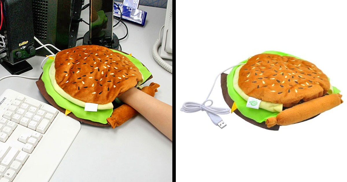 Every Cold Office Needs a Cheeseburger Hand Warming Mouse Pad