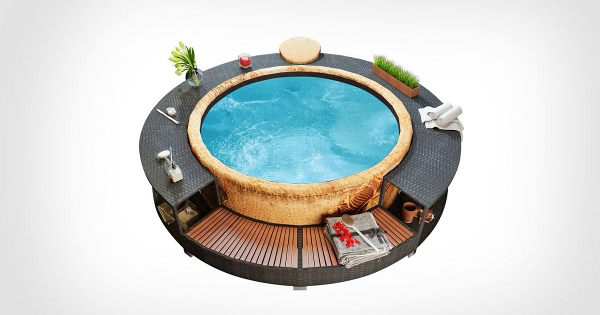 Every Inflatable Hot Tub Owner Probably Needs This Surround Structure For Easy Access, Drink Holders, and More