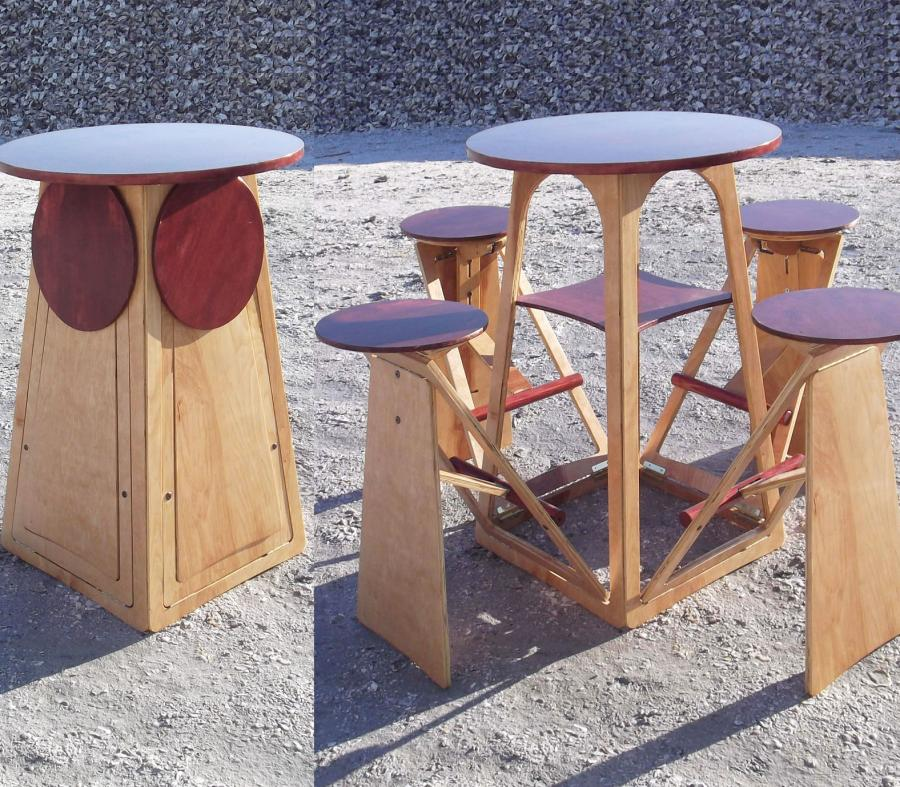 Expandable Quad Micro Bar Table And Stools