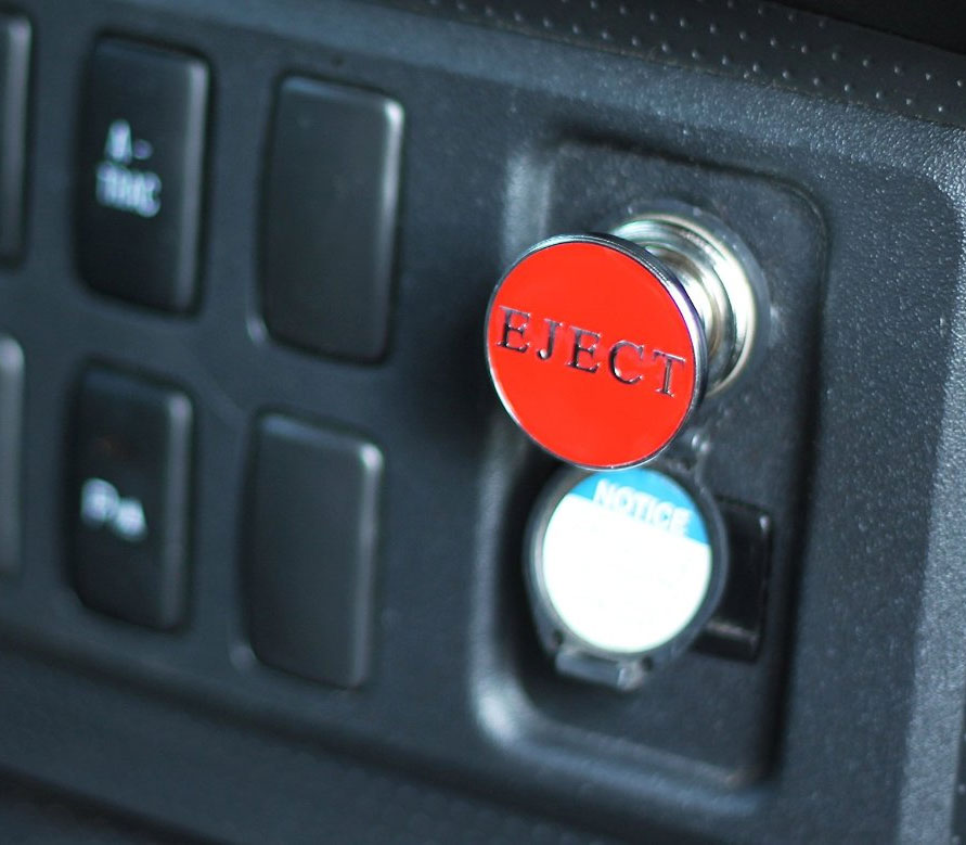 fake eject button for your car fits into your cigarette. Black Bedroom Furniture Sets. Home Design Ideas