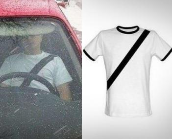 This Fake Seat-Belt T-Shirt Helps Deter Seat-Belt Tickets