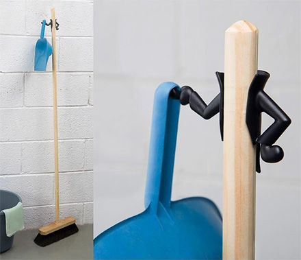 Fancy Butler Broom and Dustpan Holder