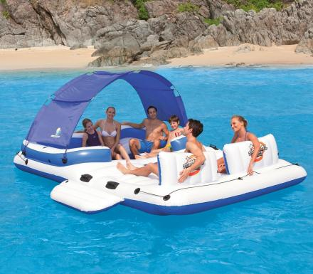 Inflatable Floating Island Seats 10, Features Integrated Cooler and Shade Canopy