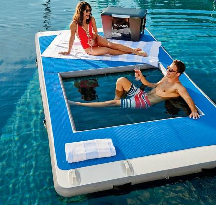 Floating Island Lake Lounger With Built-In Hammock