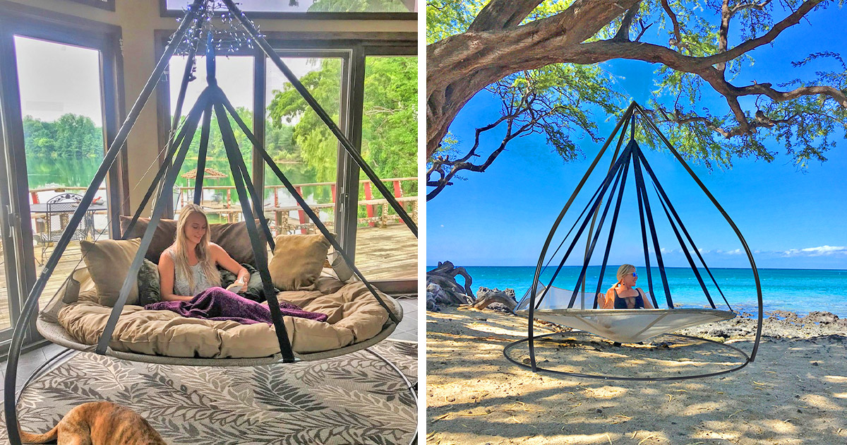Flying Saucer Hammock Chair With Tripod Stand
