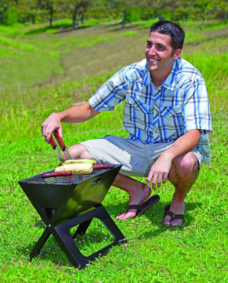 Collapsible Charcoal X-Grill - Onivia Folding Portable BBQ Grill - 1 inch thick grill