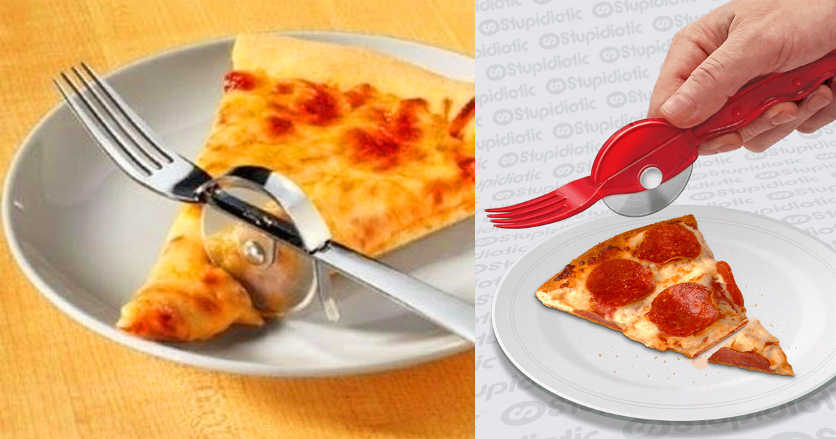Fork With Pizza Cutter - Pizza Roller Fork Combo