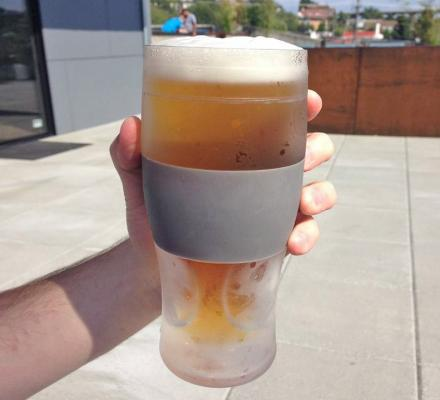 Freeze Beer Glass With Integrated Silicone Hand Koozie