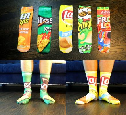 Funny Food Socks - Quirky Snack, Chips, and Cereal Print Socks