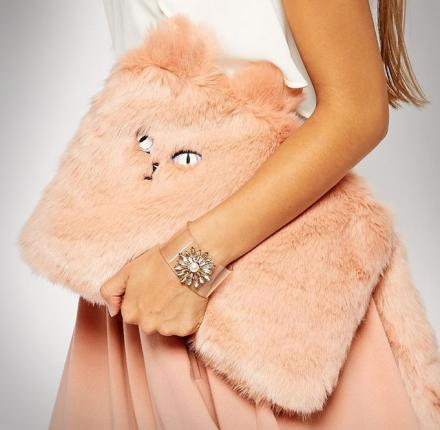 Furry Cat Clutch Purse