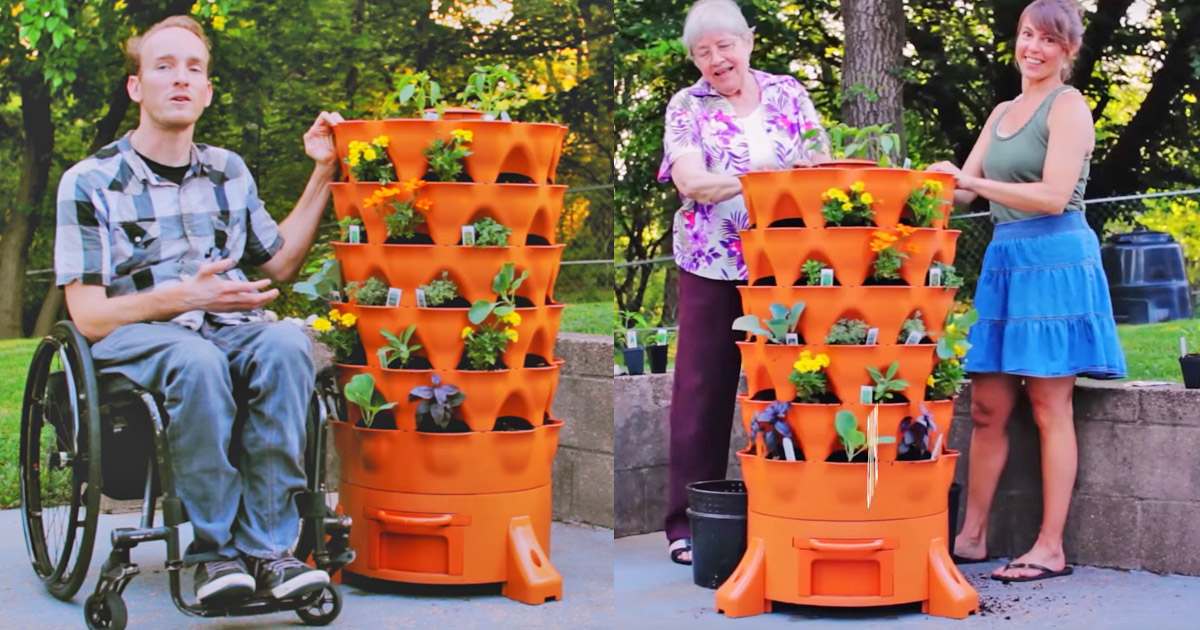 Garden Tower: Lets You Grow 50 Separate Plants Within 4 Square Feet