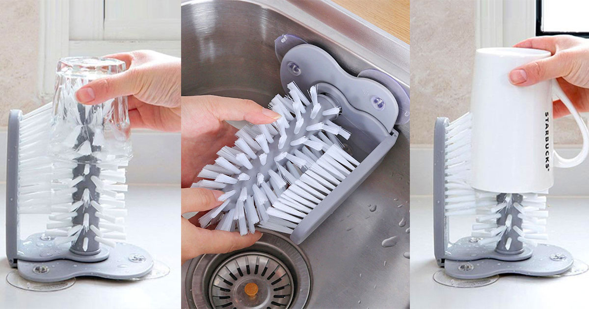 Genius Suction Cup Dish Brush Cleans The Inside and Outside Of Your Cups and Glasses