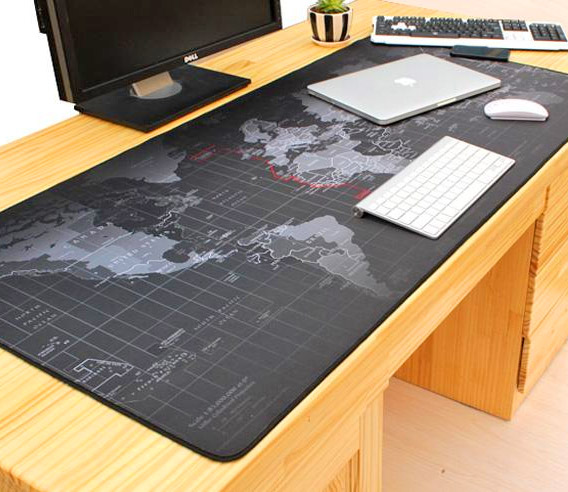World Map Desk Giant Black World Map Mouse Pad To Assist In World Domination