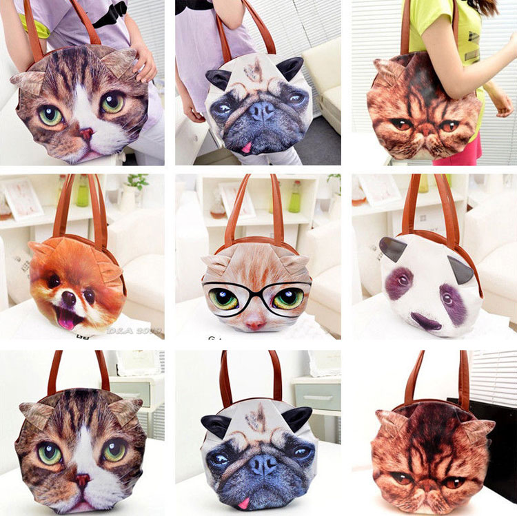 Giant Cat Face Messenger Bag Purse - Giant Cat Face Tote Bag
