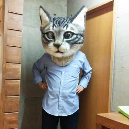 Giant Creepy & Realistic Cat Head Mask