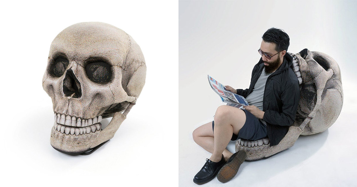 This Giant Human Skull Chair With Movable Jaw Makes Perfect Spooky Seating This Halloween