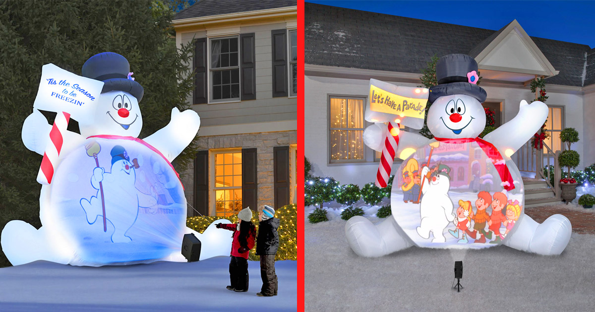 You Can Get a Giant Inflatable Frosty The Snowman That Plays The Frosty Movie On His Belly