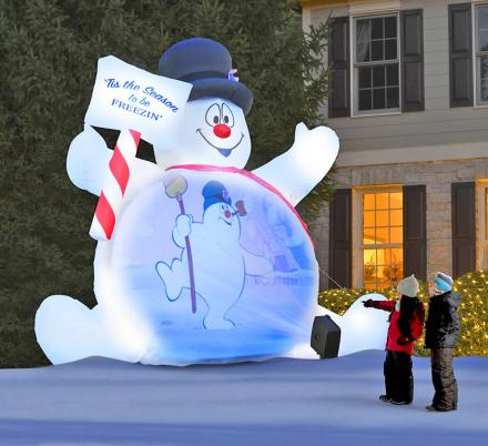 Giant Inflatable Frosty The Snowman Plays Movies On His Belly