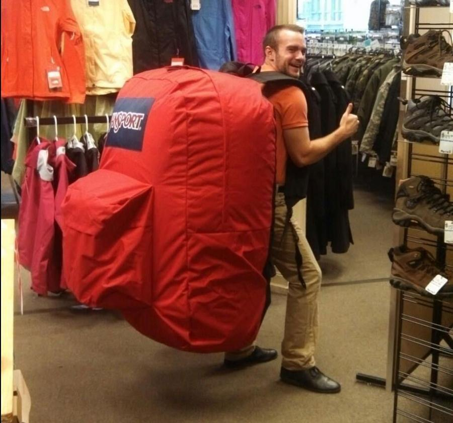Image result for huge backpacks funny