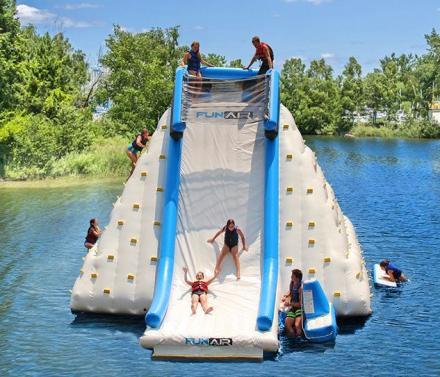 Giant Lake Inflatable Rock Climbing Wall And Slide