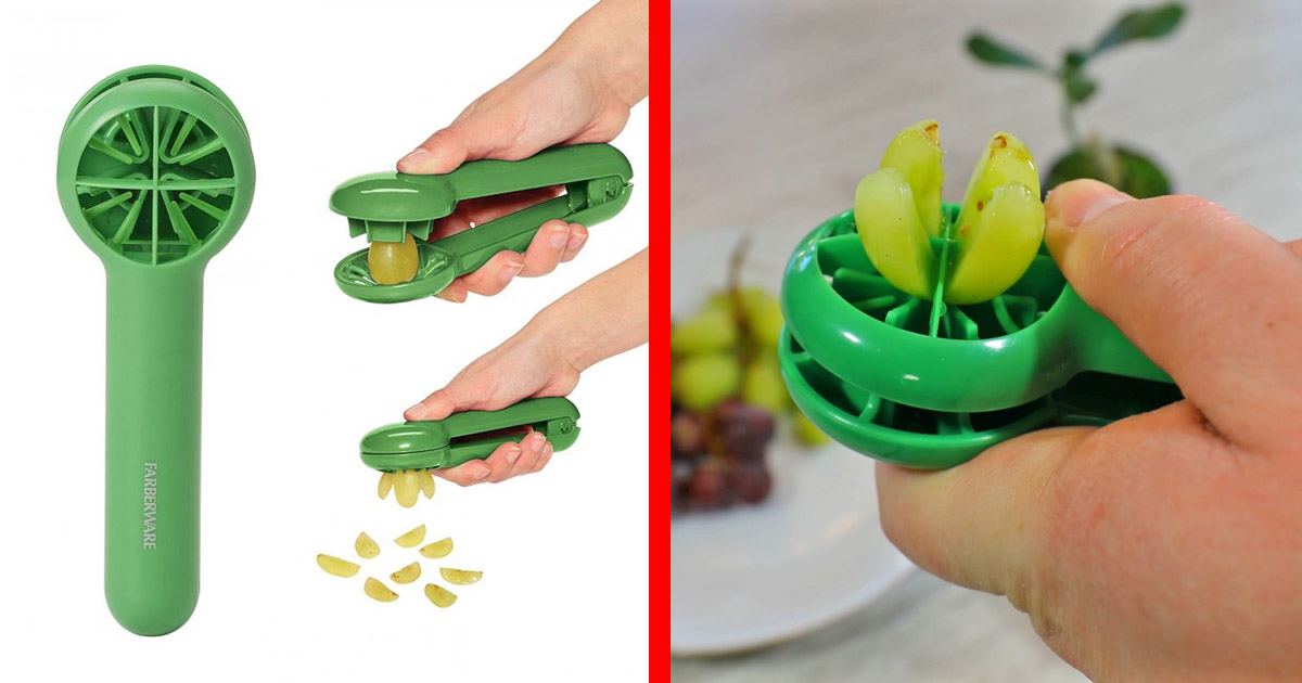 Grape Slicer Easily Cuts Grapes Into 4 Even Slices