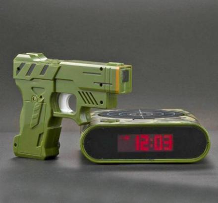 Gun Target Alarm Clock Makes You Shoot Target To Turn Off Alarm
