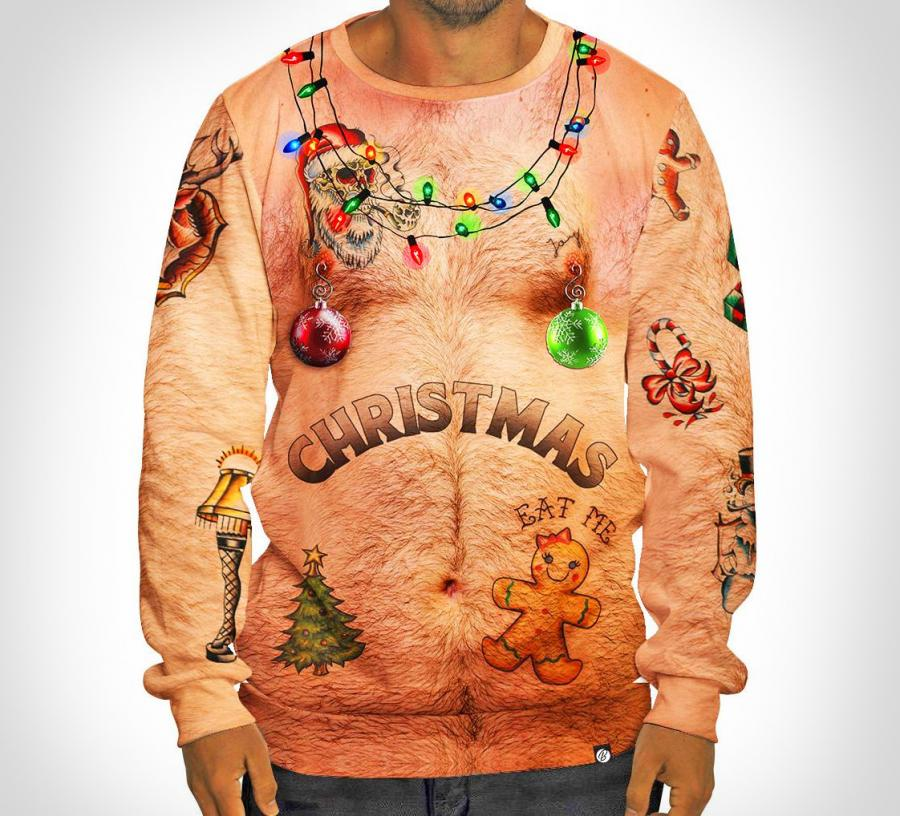 Ugly Christmas Sweaters.Hairy Chest And Tattoos Ugly Christmas Sweater