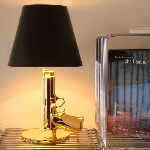 Gold Floor Lamp With Table