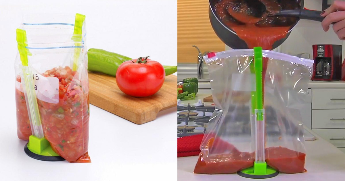 Hands-Free Ziploc Bag Holder - Food Storage Bag Clip