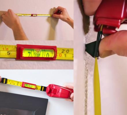 This Genius All-In-One Wall Hanger Tool Contains a Tape Measure, Bubble Level, and a Wall Marker