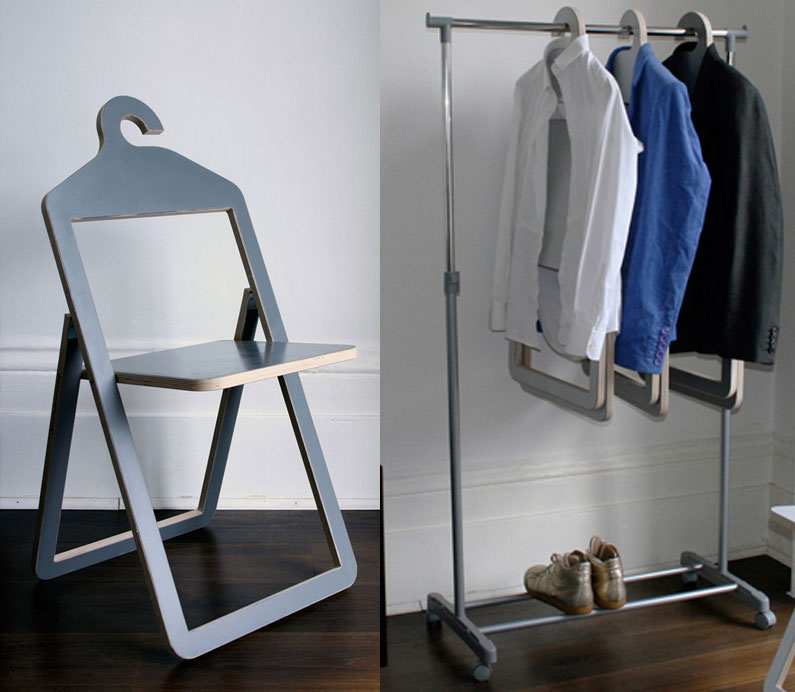 New Hanger Chair A Folding Chair That Hangs In Your Closet When Not In Use Enlarge Image Picture - Awesome cloth folding chairs