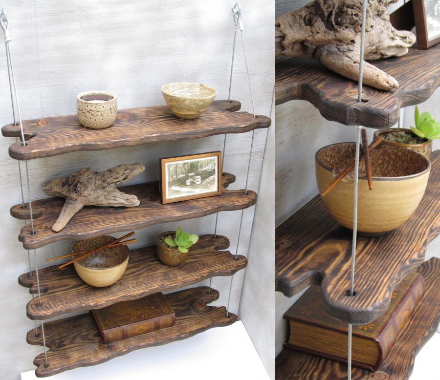 Hanging Driftwood Shelves Enlarge Image