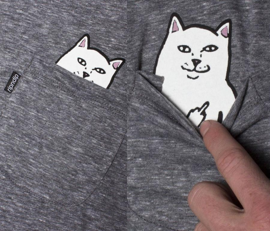 371e9056571aa The Lord Nermal t-shirt has a cat nestled into the pocket of the shirt with  a secret message for anyone that asks. If you pull down the pocket of the  shirt ...