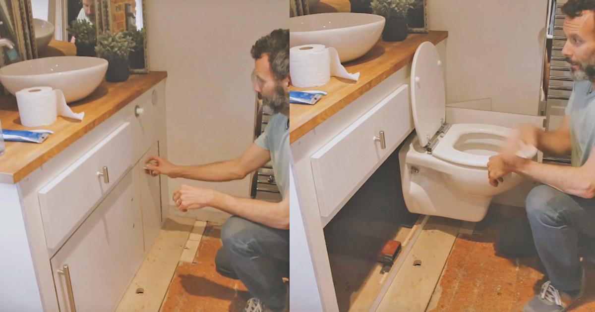 Hidealoo Is a Pull-out Hidden Toilet For Tiny Homes