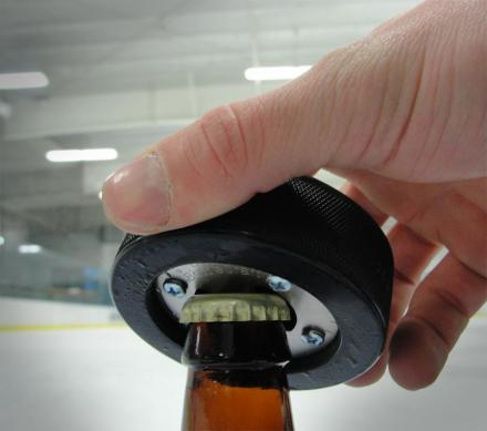 Hockey Puck Bottler Opener
