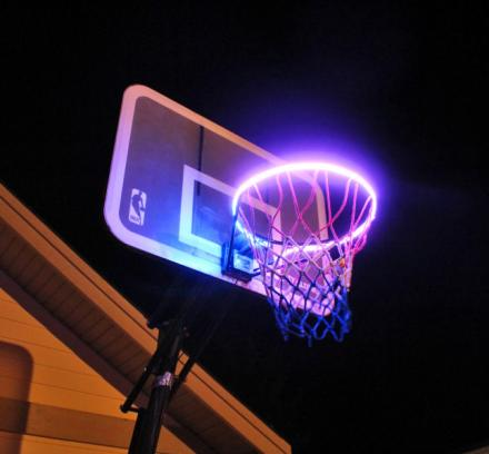 Hoop Light: LED Lit Basketball Rim Attachment Helps You Shoot Hoops At Night