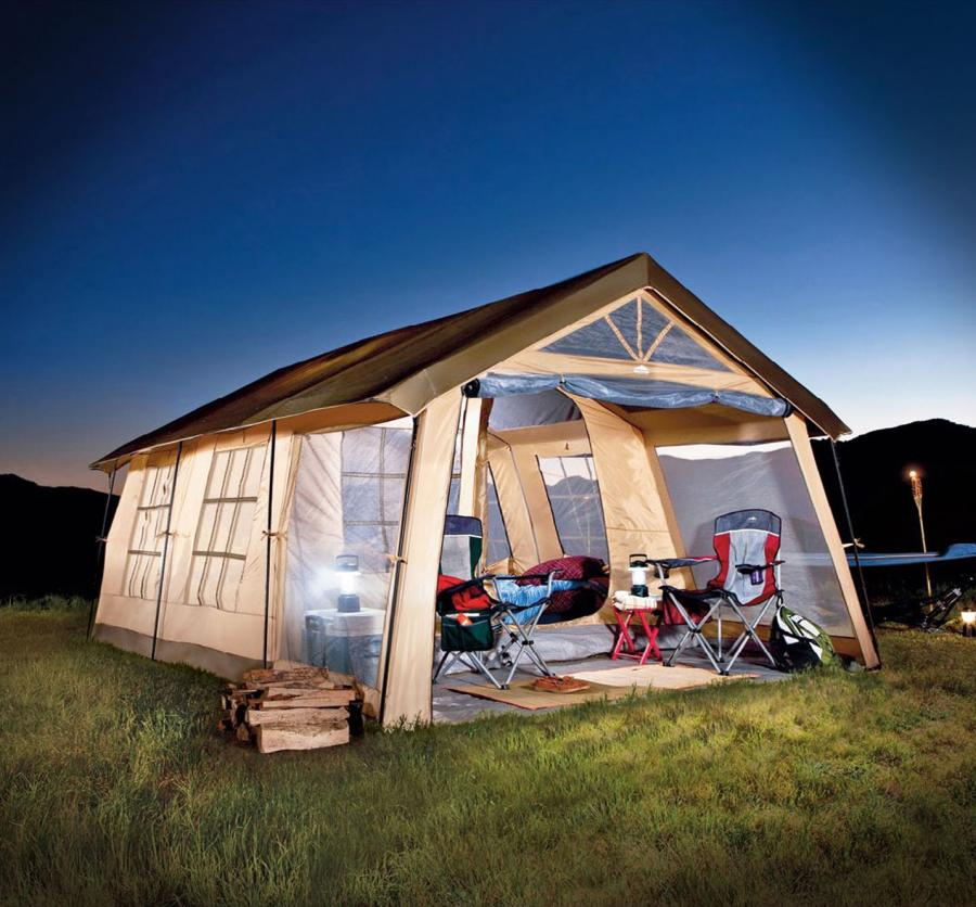 Giant house shaped tent with a front porch fits 10 people for Tent a house