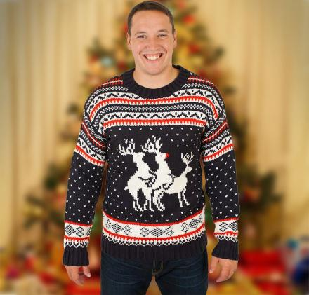 Humping Reindeer Threesome Ugly Christmas Sweater