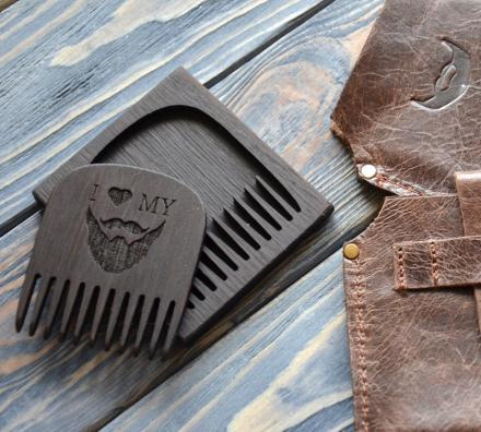 'I Love My Beard' - Wooden Beard Comb With Leather Case